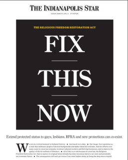 The Indianapolis Star's front page reaction to the religious freedom law.