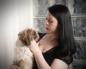 My rescue Jules and I in an outtake from my senior photos.