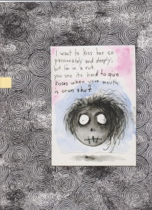 "The original image and love note from ""The Art of Tim Burton."""
