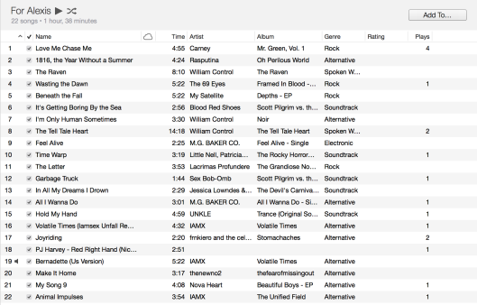 A screenshot of some of the songs that made it on the jump drive.